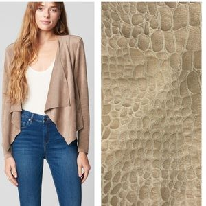 BLANK NYC tan faux crocodile leather drape jacket